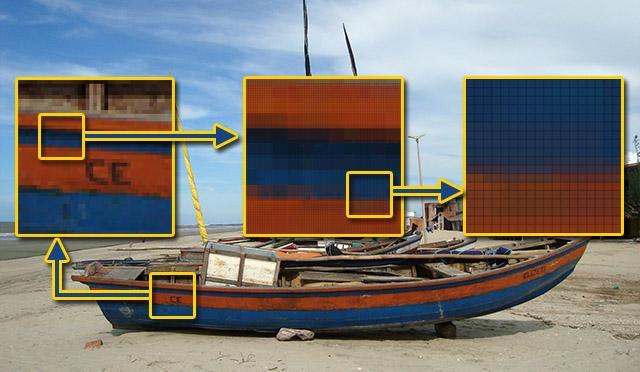 Atributos de uma imagem: imagem de um barco em que mostra os pixels cada vez mais próximos