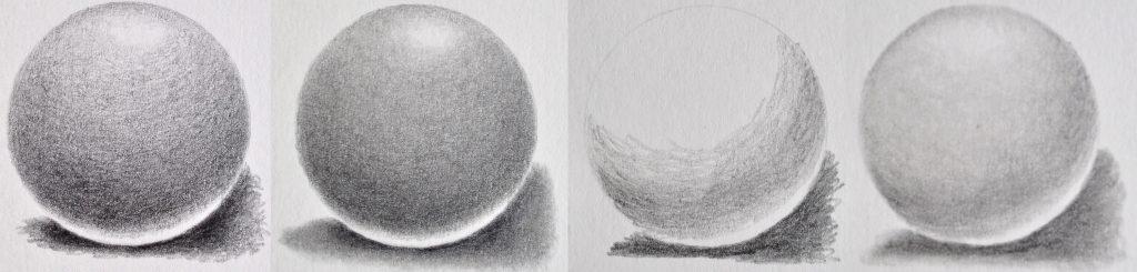 Desenhos de bolas com o uso do esfuminho