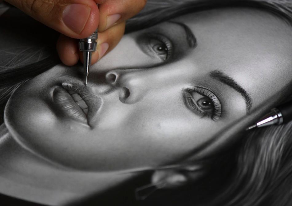 Desenho realista feito por Charles Laveso