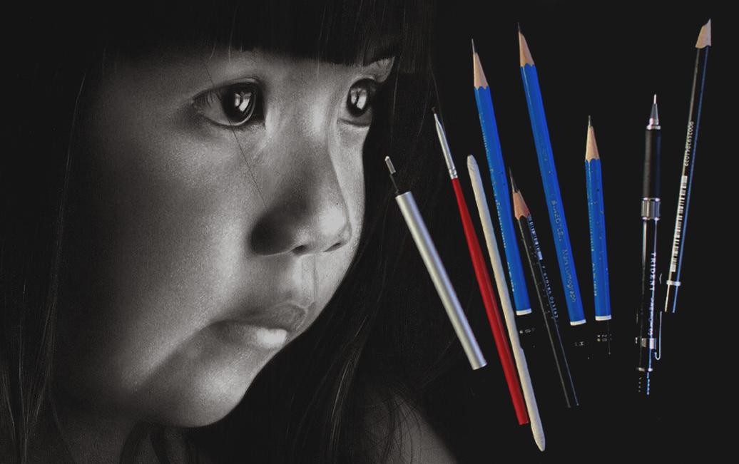 Desenho realista, em preto e branco, de uma criança de traços indígenas, ao lado de Materiais para desenhos realistas