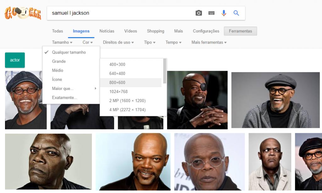 Referência para desenhos realistas: Captura de tela do Google Imagens procurando imagens do Samuel L Jackson